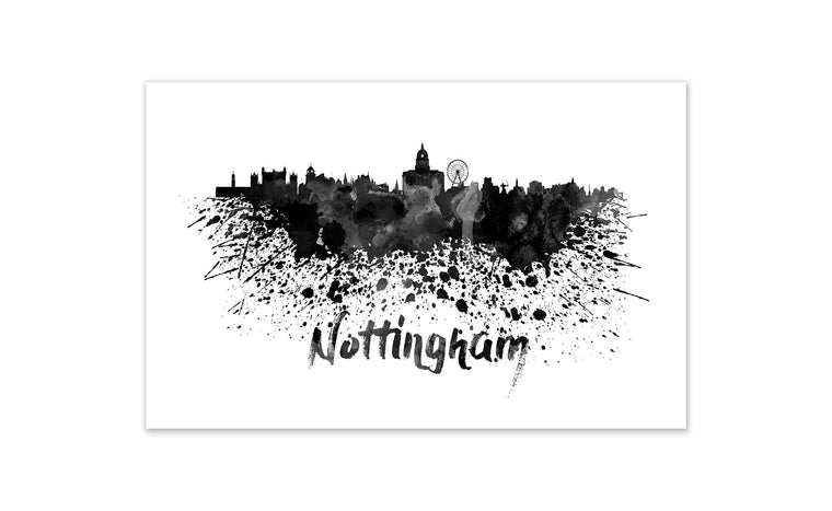Black and White World Splatter Skyline Nottingham