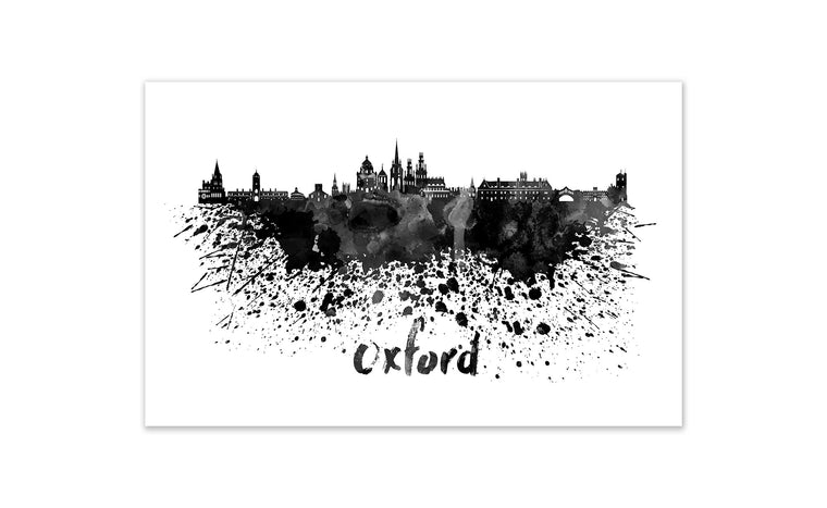 Black and White World Splatter Skyline Oxford