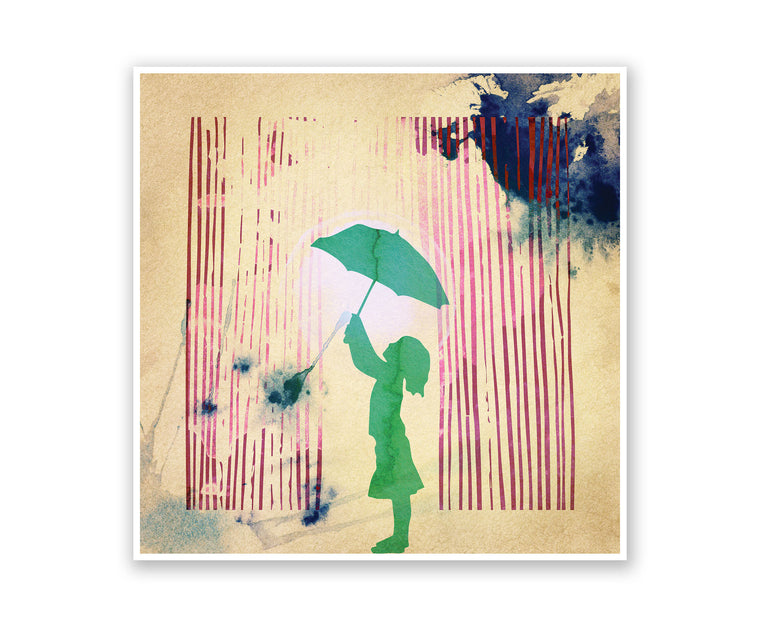 Playing in the Rain Watercolor Silhouette
