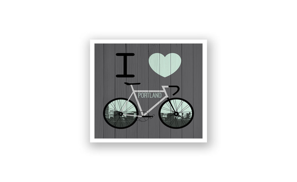 Portland City Skyline Bicycle At