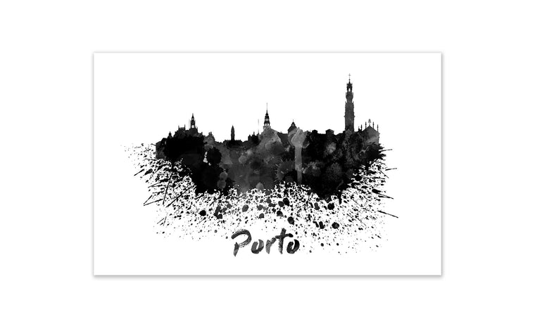 Black and White World Splatter Skyline Porto