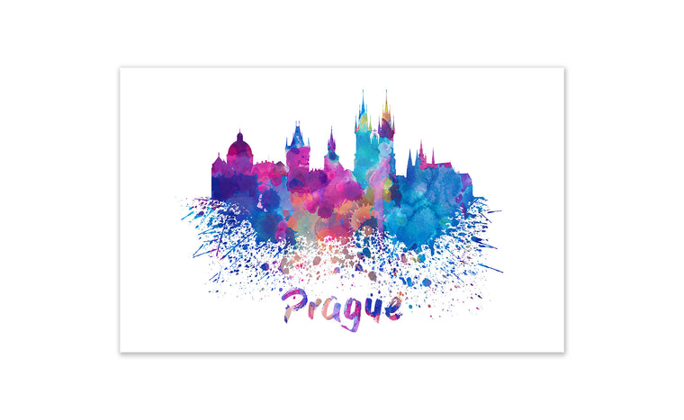 World Watercolor Skyline - Prague