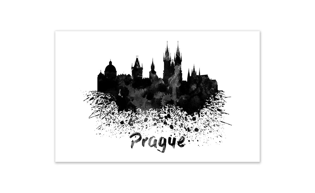 Black and White World Splatter Skyline Prague