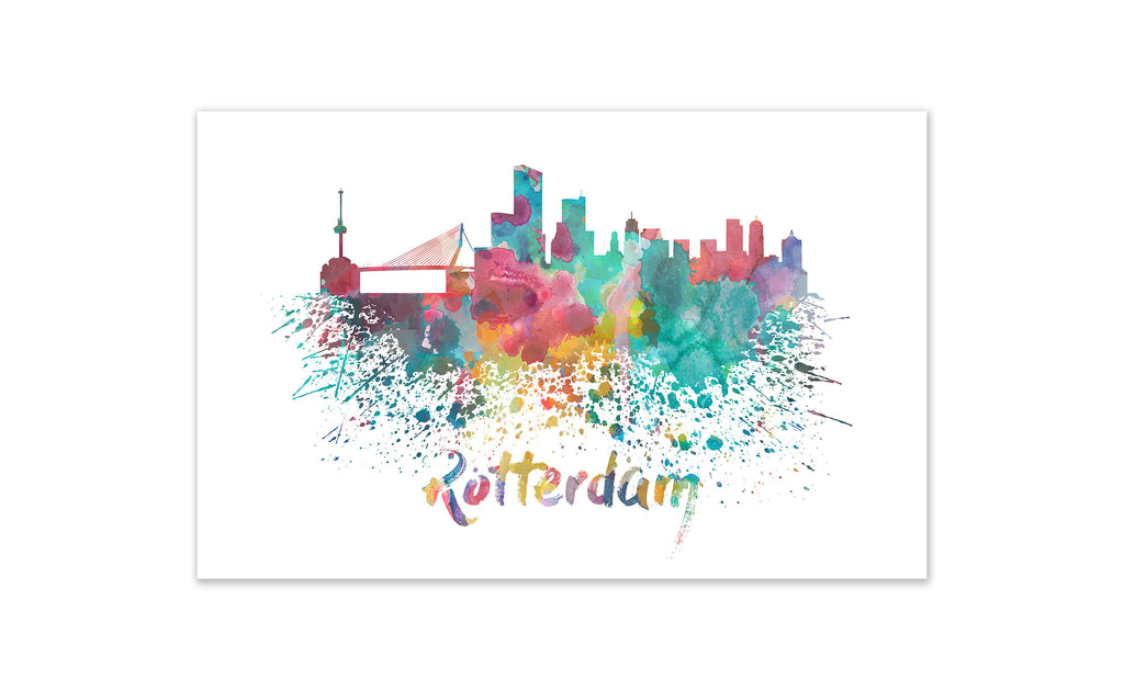 World Watercolor Skyline - Rotterdam