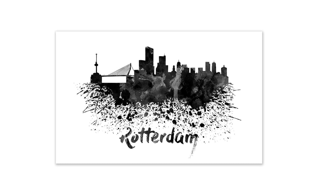 Black and White World Splatter Skyline Rotterdam
