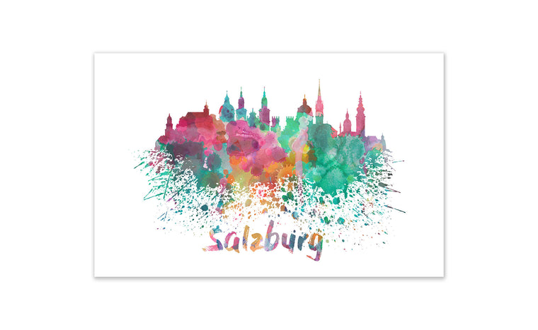World Watercolor Skyline - Salzburg