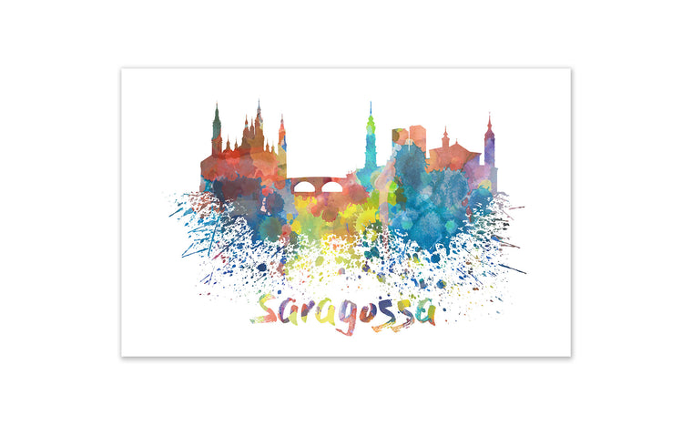 World Watercolor Skyline - Saragossa