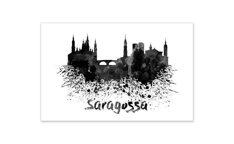 Black and White World Splatter Skyline Saragossa