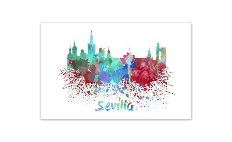 World Watercolor Skyline - Sevilla