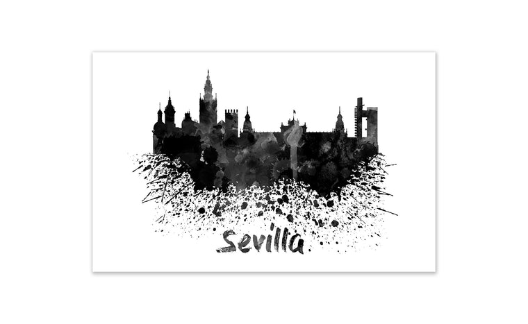 Black and White World Splatter Skyline Sevilla