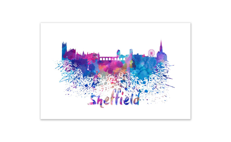 World Watercolor Skyline - Sheffield