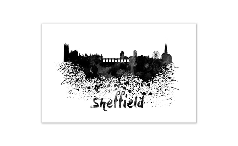 Black and White World Splatter Skyline Sheffield