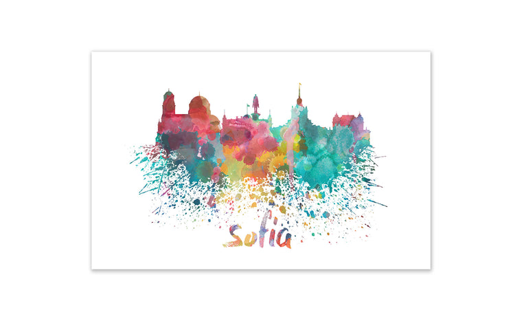 World Watercolor Skyline - Sofia