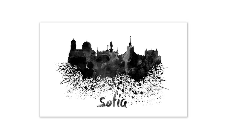Black and White World Splatter Skyline Sofia
