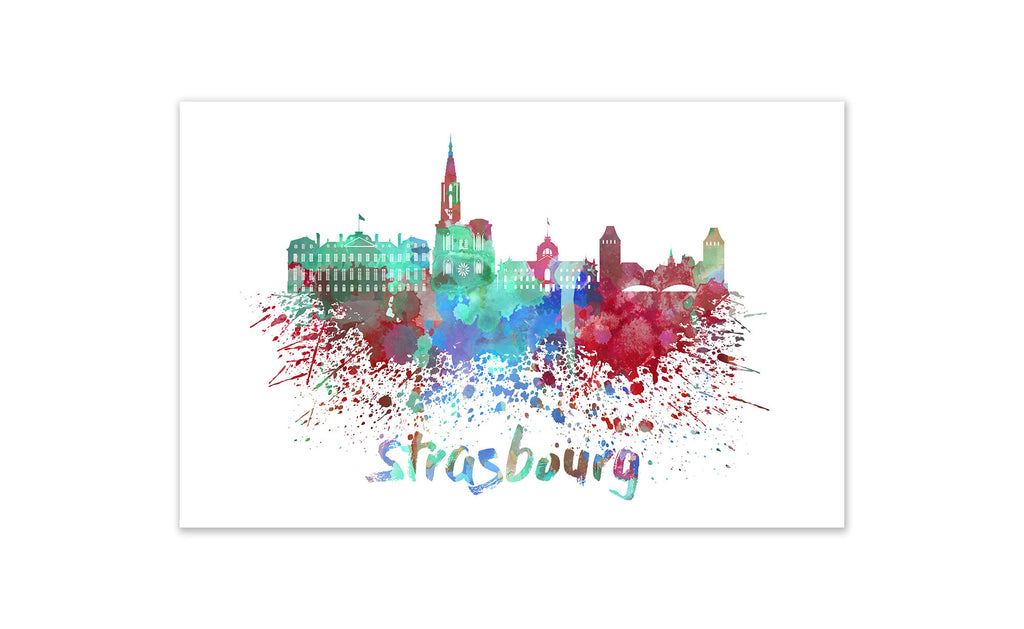 World Watercolor Skyline - Strasbourg