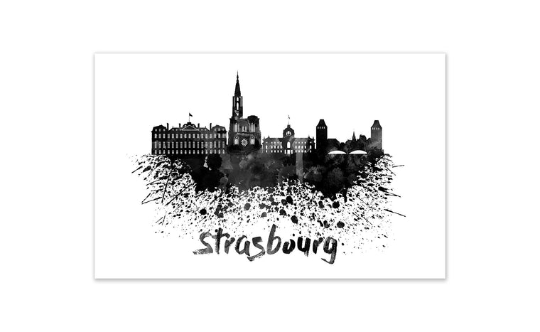 Black and White World Splatter Skyline Strasbourg