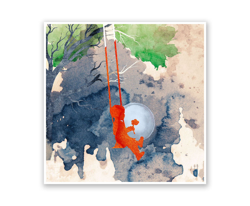 Swinging Boy Crush Watercolor Silhouette