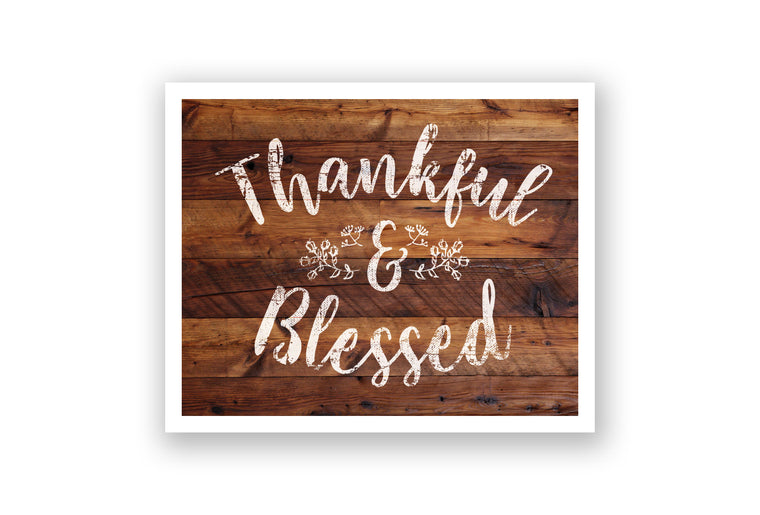 Wooden Wall Art - Thankful and Blessed