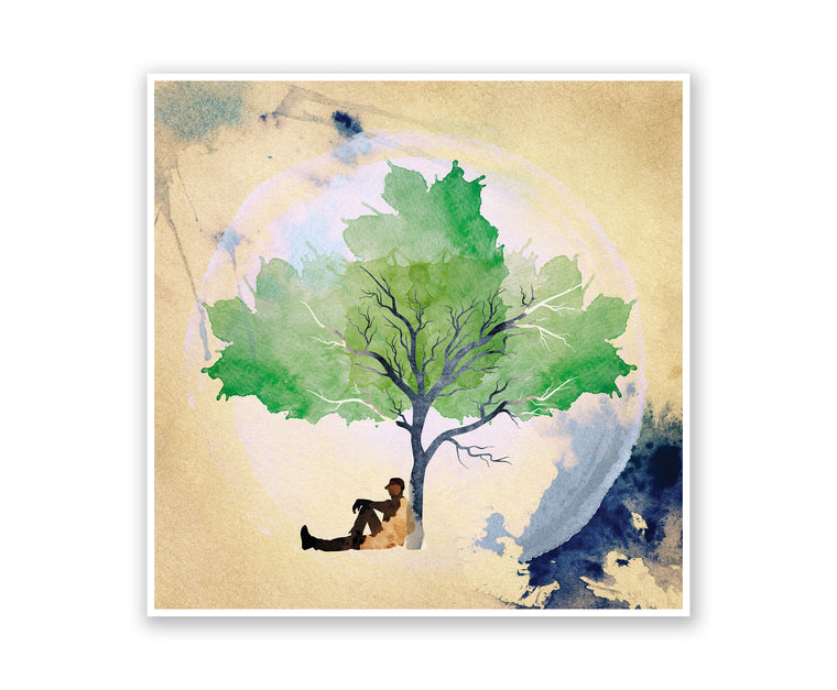 The Tree Leaner Watercolor Silhouette