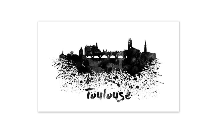 Black and White World Splatter Skyline Toulouse