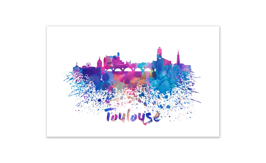 World Watercolor Skyline - Toulouse