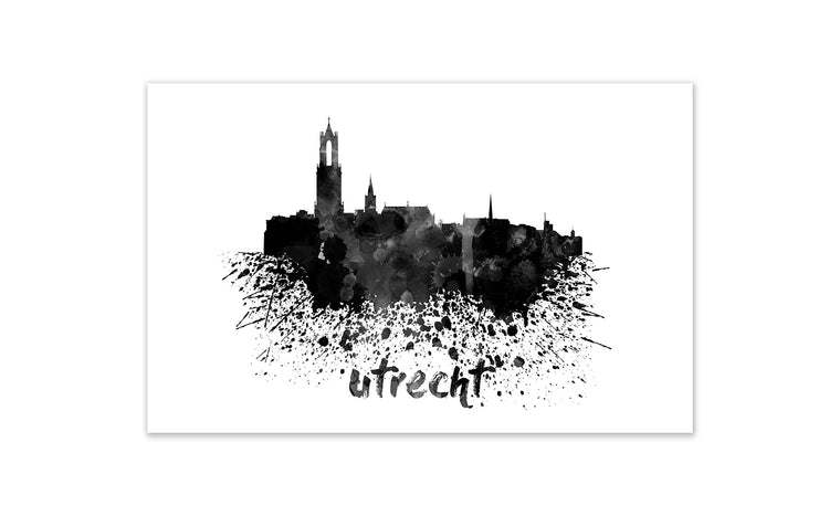 Black and White World Splatter Skyline Utrecht