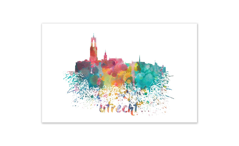 World Watercolor Skyline - Utrecht