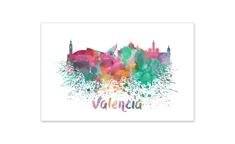 World Watercolor Skyline - Valencia