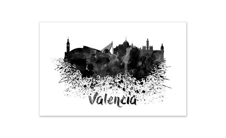 Black and White World Splatter Skyline Valencia