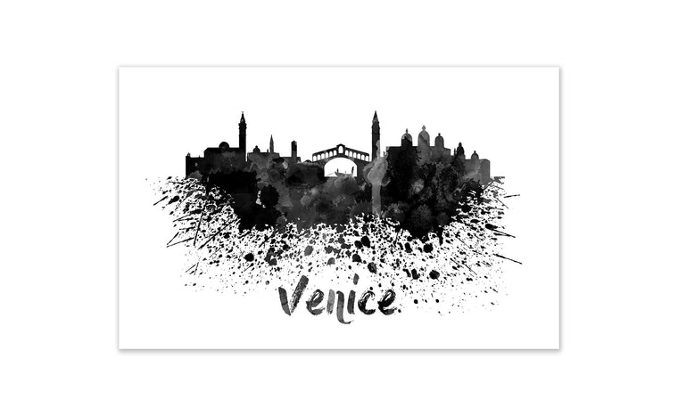 Black and White World Splatter Skyline Venice