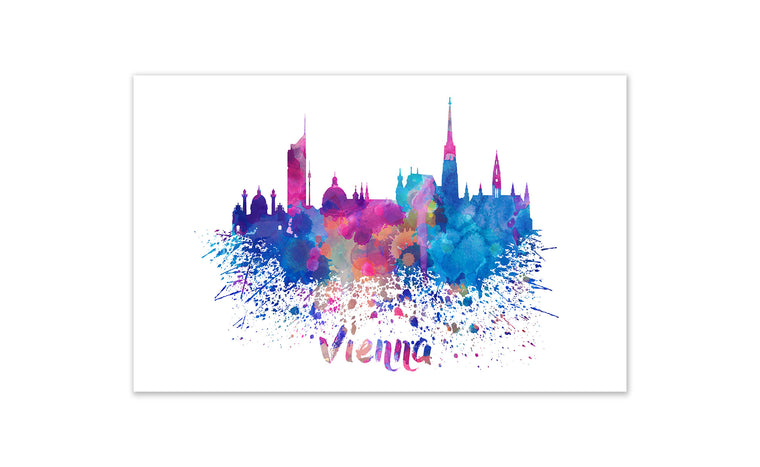 World Watercolor Skyline - Vienna