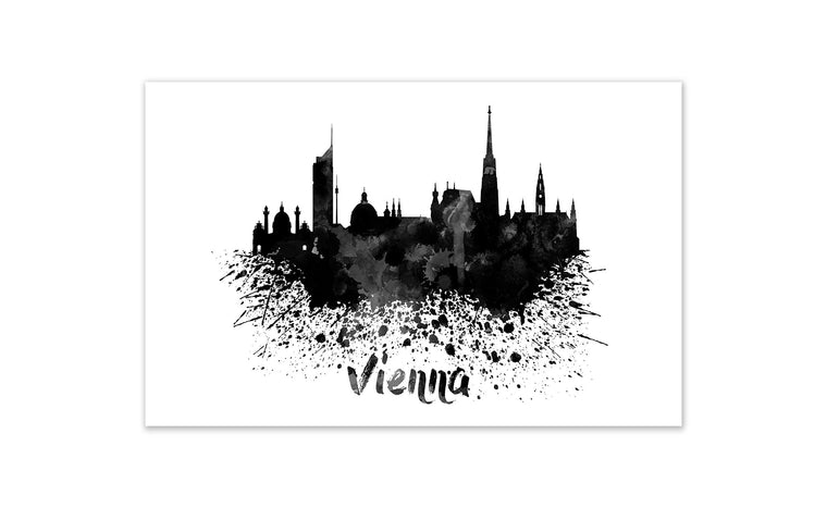 Black and White World Splatter Skyline Vienna