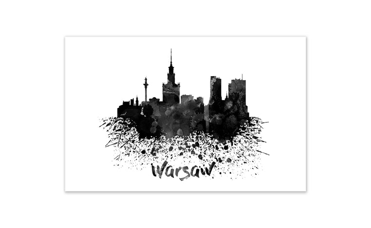 Black and White World Splatter Skyline Warsaw