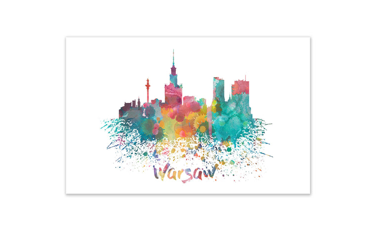 World Watercolor Skyline - Warsaw