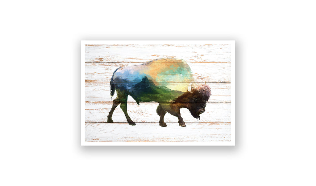 Mountain Buffalo Watercolor