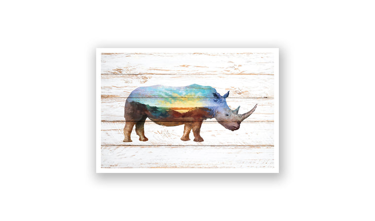 Sunset Rhino Watercolor