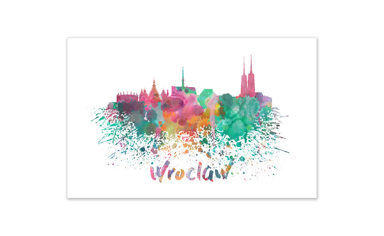 World Watercolor Skyline - Wroclaw