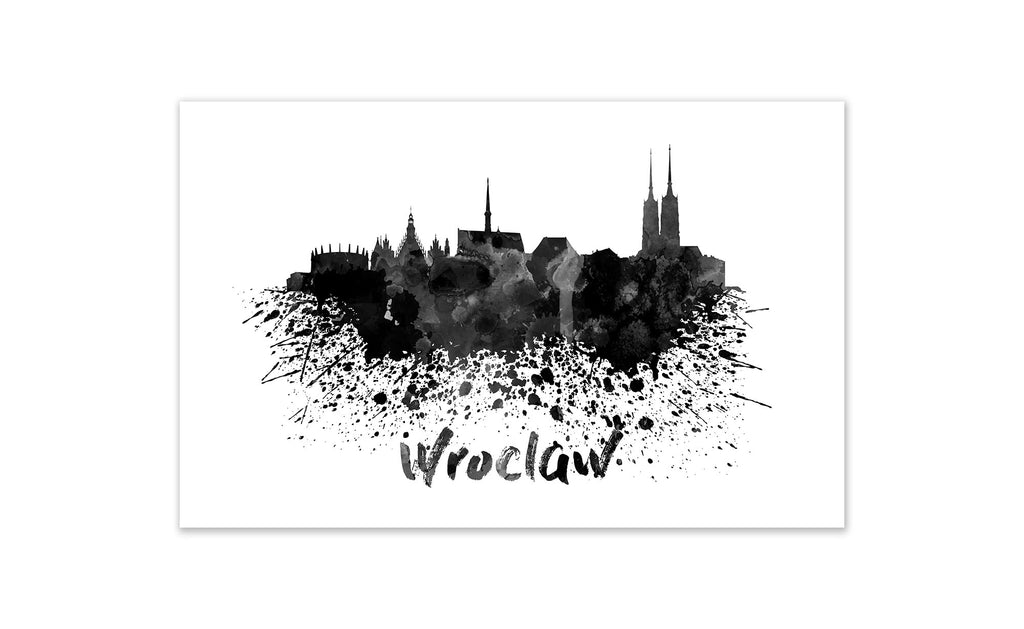 Black and White World Splatter Skyline Wroclaw