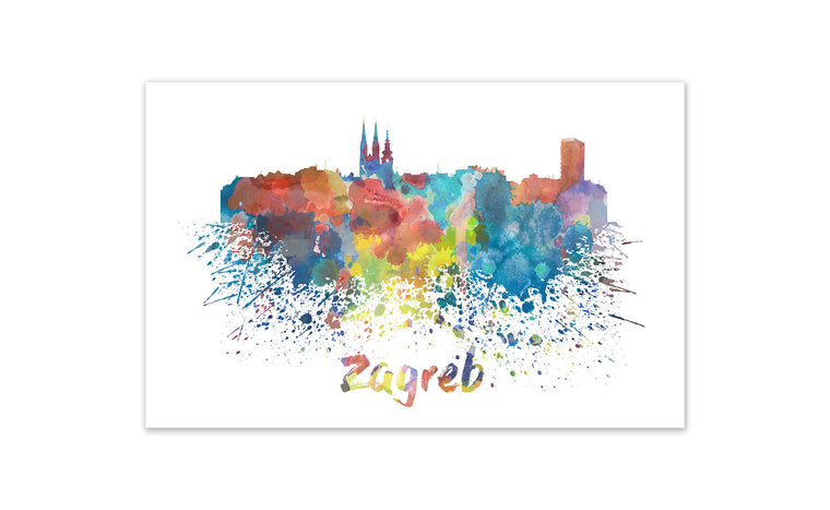 World Watercolor Skyline - Zagreb