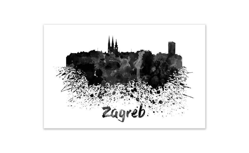 Black and White World Splatter Skyline Zagreb