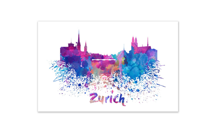 World Watercolor Skyline - Zurich