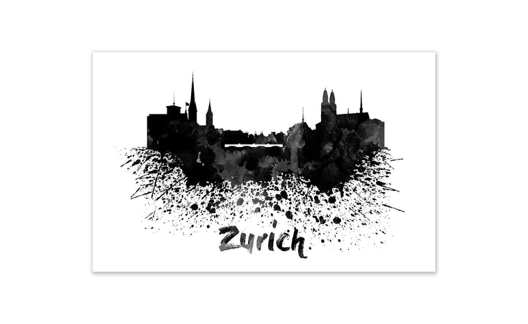 Black and White World Splatter Skyline Zurich