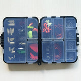 128 pcs Fishing Accessories Tackle Box Hooks Swivels Fishing Sinker Stoppers Closed Compartments