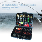 128 pcs Fishing Accessories Tackle Box Hooks Swivels Fishing Sinker Stoppers with Man