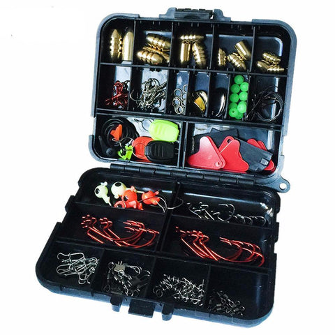 128 pcs Fishing Accessories Tackle Box Hooks Swivels Fishing Sinker Stoppers
