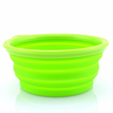 2 Pack Collapsible Silicone Pet Folding Travel Bowls Green