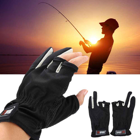 3 Finger Anti-slip Breathable Fishing Hunting Gloves Black with Man Fishing Sun Set
