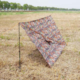 3 in 1 Multifunctional Poncho Woodland Camo Lean-To Back View