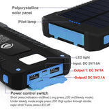 Solar 10000 mah Dual USB Mobile Charger Waterproof