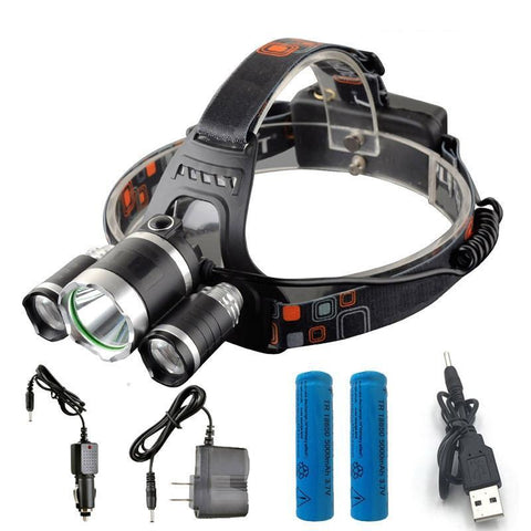 3 LED Headlight Batteries Changers and USB Cable
